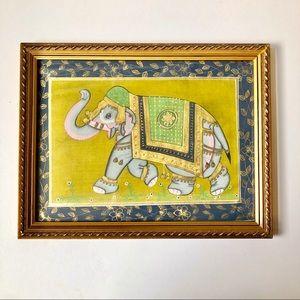 Decorated Elephant Framed Painting on Silk Cloth